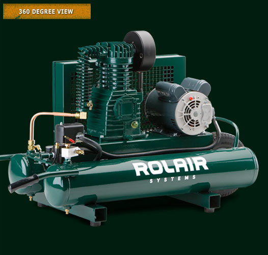 ROLAIR 1.5HP 1755RPM 7.3CFM@90PSI 9GAL SINGLE STAGE AIR COMPRESSOR W/ REGULATOR & GAUGE